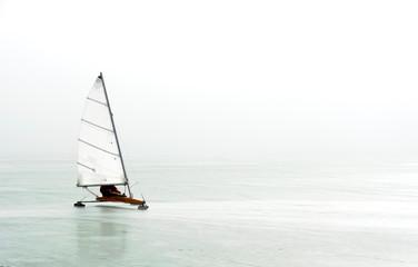 Ice sailing on frozen Lake Balaton, Hungary