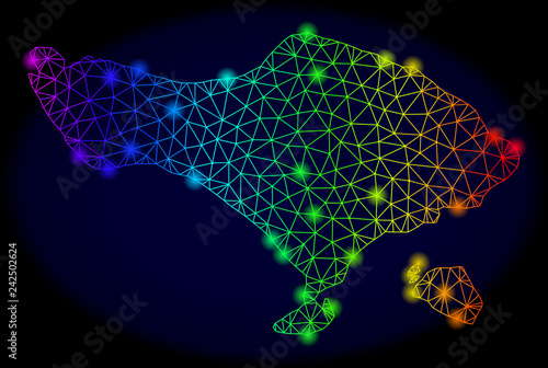 Glossy Spectrum Mesh Vector Map Of Bali Island With Glowing Effect