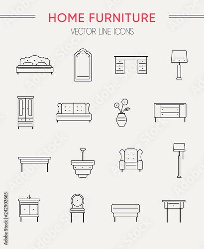 Set Of Furniture And Home Decor Vector Line Icons Stock Image And