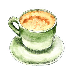 Green color cup of coffee or hot chocolate, hand drawn watercolor illustration, view from side