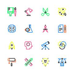 Creativity multicolor linear icons.