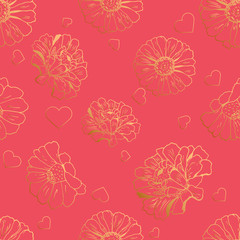 Seamless pattern with hearts and flowers (zinnia, sunflower, daisy, camomile) for textile, bedlinen, packing, pillow, undergarment, wrapping paper. Valentine`s day background. Vector illustration.