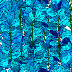 green branches with blue colored leaves hand painted