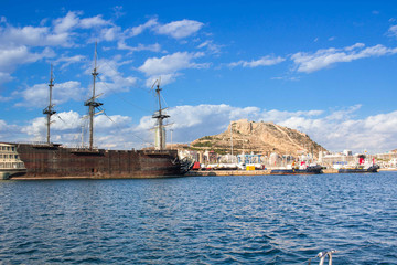 Papiers peints Moyen-Orient Old wooden vessel in marina on Mediterranean sea coast