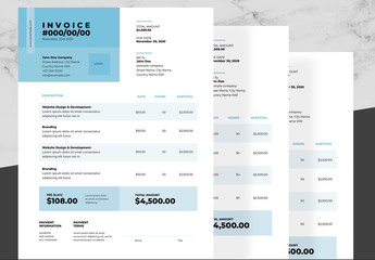 Business Invoice Layout with Blue and Black Accents