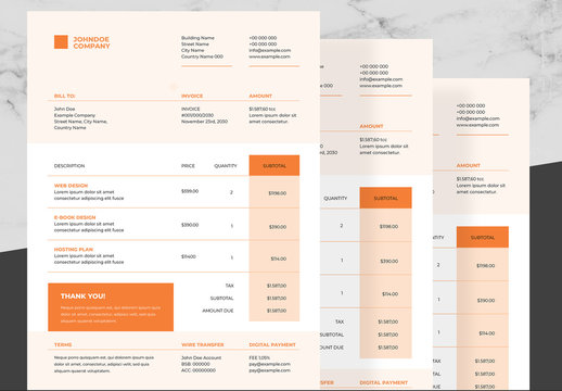 Corporate Invoice Layout with Orange and Black Accents