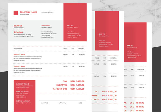 Corporate Invoice Layout with Red and Black Accents