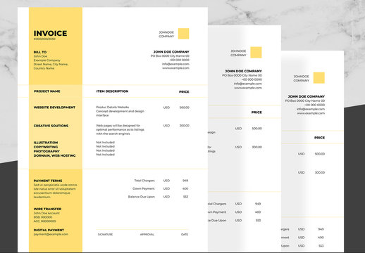 Corporate Invoice Layout with Yellow and Black Accents