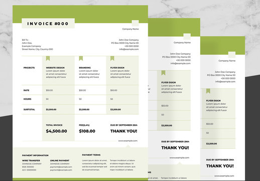 Business Invoice Layout with Green and Black Accents