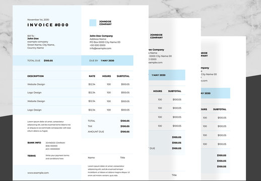 Business Invoice Layout with Sky Blue and Black Accents