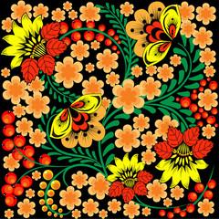 bright seamless pattern in Russian Khokhloma style