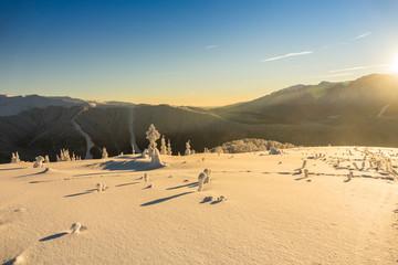 Fantastic winter mountain landscape glowing by sunlight