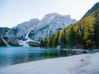 Braies Lake (Lago di Braies, Pragser Wildsee) in Dolomites mountains, Sudtirol, Italy.