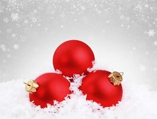 Christmas balls in snowflakes on white background