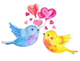 Love birds couple flying with heart balloons. Hand drawn watercolor illustration for St Valentine's day