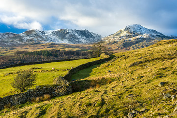 Coniston Old Man and Dow Crag in winter