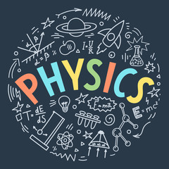 Physics doodles with lettering.