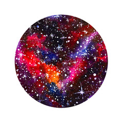 cerchio acquerello stelle dipinto galassie