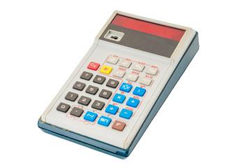Old led calculator isolated on white background
