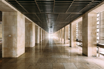 """Masjid Istiqlal Interior walkway in Indonesia is the largest mosque in Southeast Asia. Named """"Istiqlal"""", an Arabic word for """"independence"""""""