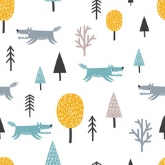Seamless Scandinavian pattern with cute wolf and trees. Vector forest background.