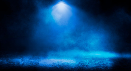 Fotomurales - Blue misty dark background. Dark street with smoke, fog, blue spotlights, neon. Dark abstract empty background.
