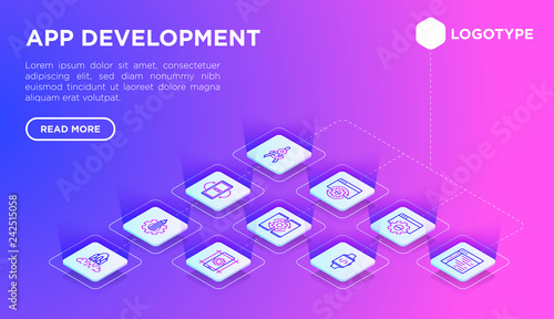 App Development Web Page Template With Thin Line Isometric Icons