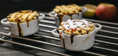 apple pies arranged on dark wooden table. copy space included