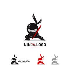 Ninja Warrior logo Design Vector Template. Silhouette of japanese fighter. - Vector