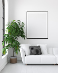 Mock up poster frame in interior background, Scandinavian style, 3D render