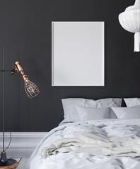 Mock-up poster frame in dark bedroom, Scandinavian style, 3d render