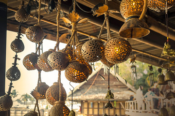 Traditional Lamp made of coconut shell on Sale In Market