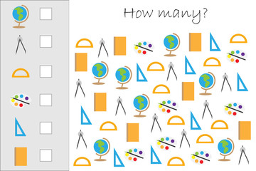 How many counting game with school pictures for kids, educational maths task for the development of logical thinking, preschool worksheet activity, count and choose the result, vector illustration