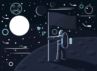 Vector illustration of an astronaut or cosmonaut in a special suit standing with a flag in his hand on the moon or another planet and looking at the sun and other stars and planets