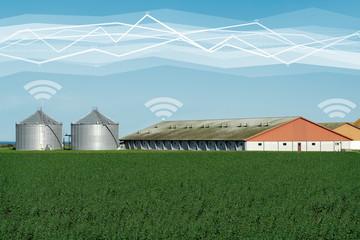 Modern farm with wireless control. Smart farming.