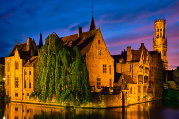 Wall Murals Bridges Famous view of Bruges, Belgium