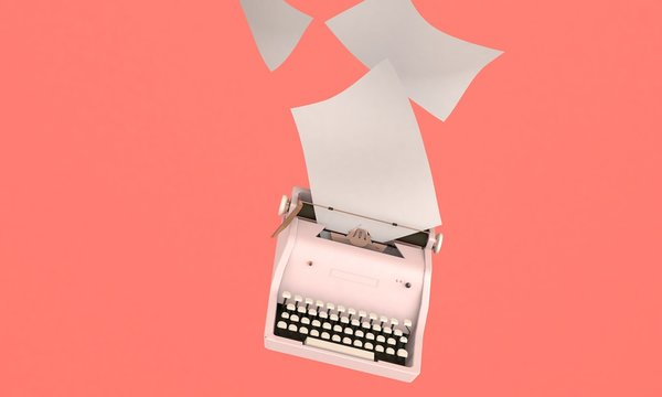3D render illustration of flying  vintage typewriter with paper sheets, space for text