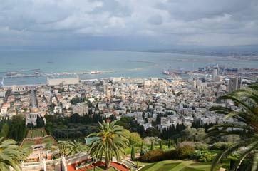 Panoramic view of Haifa and the Bahai Gardens