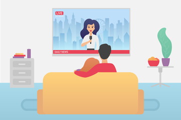Couple family watching TV daily news program sitting on the couch at home in the living room flat vector iluustration.
