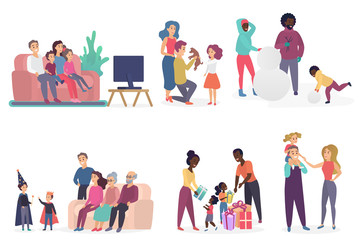 Family members spending time together. Parents and children watching TV, talking, playing, birthday celebrating. Flat vector illustration.
