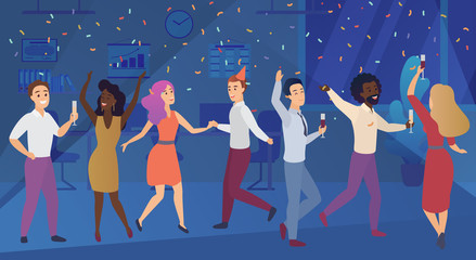 New year corporate party or birthday celebrating in office. Business team happy people celebrate vector illustration.