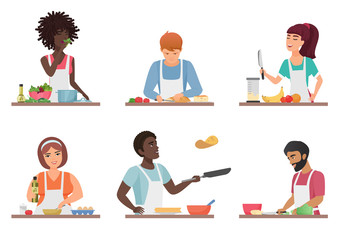 Cartoon people cooking set isolated vector illustration.