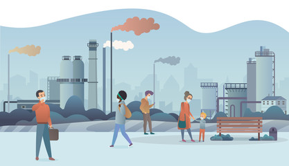Sad and unhappy people wearing protective face masks and walking near factory pipes city with smoke on background. Industrial smog, fine dust, air pollution and pollutant fog gas vector illustration.