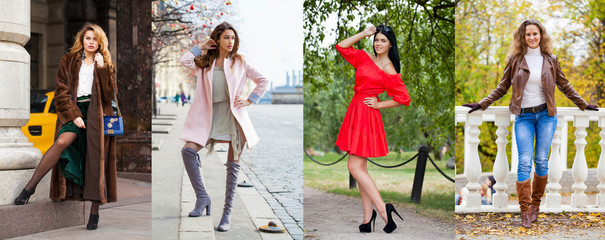 Wall Mural - Collage of various young girls in trendy seasonal clothes