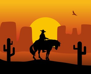 Wild west gunslinger in a raincoat riding a horse. Background the desert.