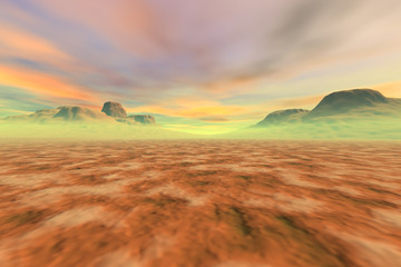 Desert, a martian landscape, fine haze in the mountains, big rocks and a fantastic sky with colored clouds.