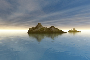 Islands, a mediterranean landscape, reflection in the sea and rays of the sun in the sky.
