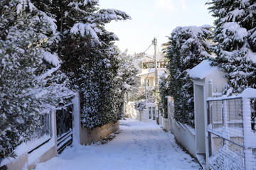Beautiful winter morning snow covered streets of Athens, Greece, 8th of January 2019.