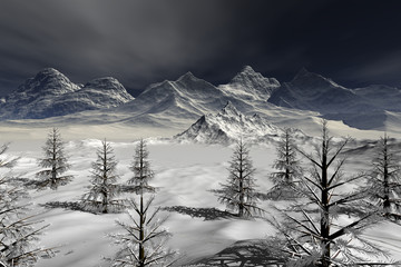 Snowy mountains, an alpine landscape, coniferous trees, fog over the lake and a dark sky.
