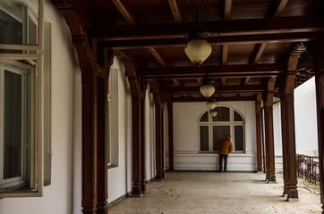Sinaia documentary project.  Old terrace in Dimitrie Ghica Park, Sinaia, Romania